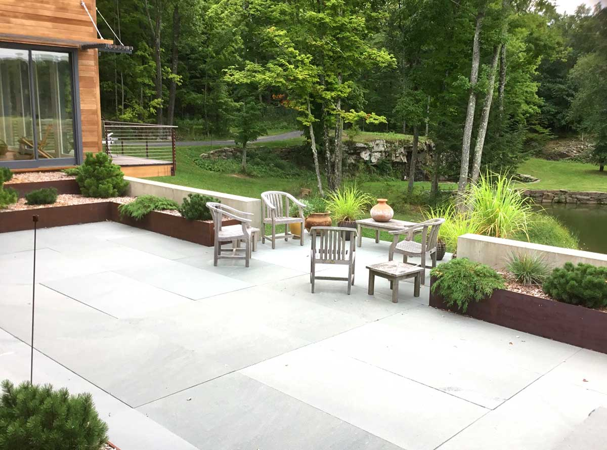 New Patio With Stone Wall